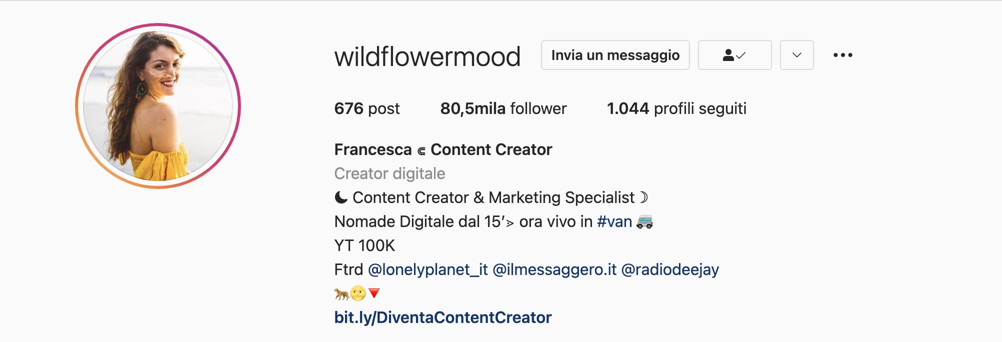 Bio Instagram Wildflowermood - Francesca Ruvolo